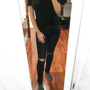 Dark Blue Denim Ripped Knee Skinny Jeans